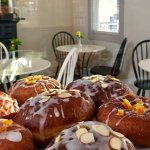 Every Saturday we make 'Paczki,' traditional Polish donuts with a bit of plum jam in the centre.
