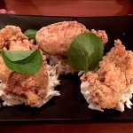 Buttermilk fried oysters on slaw.