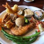 Shrimp tempura, Jasmine shrimp, sushi, tofu, squid salad, green beans, calamari