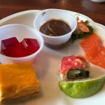 Jello, raw salmon, chocolate pudding, mango cake