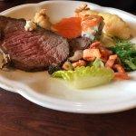 roast beef, seaweed salad, shrimp tempura, calamari salad, salmon