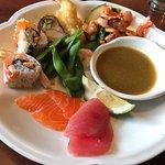 raw salmon and ahi, sushi, shrimp tempura, calamari salad, edamame, cucumber salad