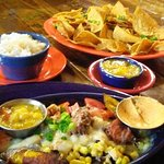 Small Taos Boat with the Cream Cheese on the side, Mango Salsa and Chips. YUMMY.