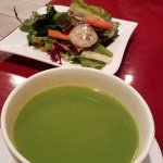 Pea soup and salad