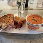The lunch special.  Ham & cheese and tomato roasted pepper soup.  Yum!