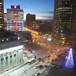 Fabulous view from our room in the Fairmont Winnipeg overlooking Portage and Main on a chilly -2