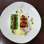 Duck breast, orange and saffron mayonnaise, mangetout peas, marinated red cabbage.