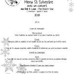 Menu St Sylvestre 2017