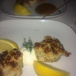 Grouper cake shrimp and scallops potato soup