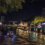 Melaka River at night.  Cruise operates into the night for a spectacular night view.