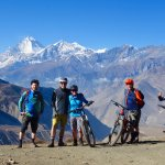 from the high point of our ride, mountain biking under the world's highest peaks!
