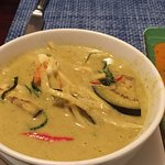 Thai green curry with king prawn