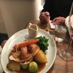 Slow roasted breast of Turkey,roast potatoes,honey toast carrots pigs in blankets,curly Kale,spr
