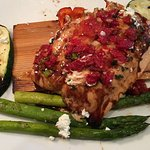 Cedar plank salmon delicious