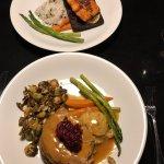 Turkey dinner and wild salmon on a cedar plank.