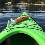 Kayak from the Mayne island resort out in the bay