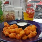 Cheese curds, with a side of Ginger Ale (beer not mine).