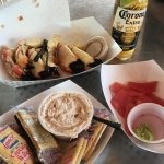Stoned crab claws, fish dip and tuna