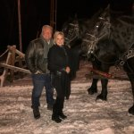 With our horses, Frank and Jesse, following our sleigh ride.