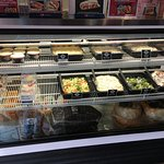 Coleslaw great, banana pudding top left, lots of other salads.