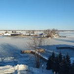 Morning view from room of frozen bay.