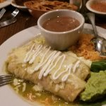 Enchiladas verdes and enchiladas mole