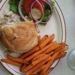 Chicken wrap, sweet potato fries & chocolate shake best nostagic lunch ever!