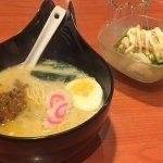 Spicy tonkotsu ramen with a side of potato salad