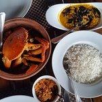 Lankan Murunga Leaf Crab Curry with Rice, Dhal and Pol Sambol.