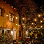 Night lights make an enchanting historic stay in Santa Fe at Pueblo Bonito bed and breakfast inn