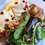 Coffe Butter Eggs Benedict, Duck Fried Potatoes & Breakfast Salad
