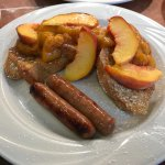 Palisade Peach French Toast done with local french bread, local peach compote and Colorado sausa