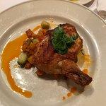 """Pollo Diavolo - Chicken breast """"Al Mattone"""" butternut squash and brussel sprouts with chili oil."""