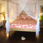Almost all of our rooms feature four poster beds. Mosquitoes are rare due to the sea breeze.