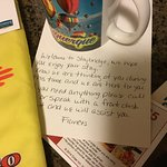 Handwritten note, goodie bag for dog n a special gift for me due to losing hubby to 9/11 related