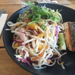 Noodle salad with salmon
