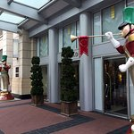 Entrance decorated for holidays