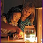 Campers experimenting with the properties of light.
