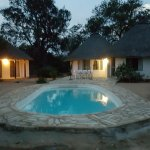 View of the Kudu Chalet in the evening