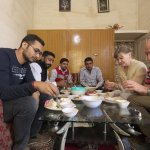 Guest enjoying the traditional Indian Village food....Tour: Indian Village and Food Tour