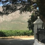 The view of the Franschoek sign at the gate of a wine farm