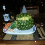 My Dinner with the whole Pineapple filled with friedrice, shrimps and chicken