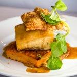 Pork belly w/ apple puree, sweet potato gratin, & red wine jus (gf)