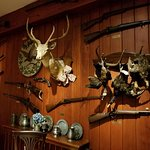 Hunting decor in the refined country style restaurant