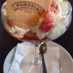 Strawberry sweet and ice-cream with Liqueur