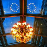 The stairway to the upstairs meeting rooms has a huge skylight and this chandelier.