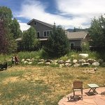 Spacious fenced in yard with horseshoe pits