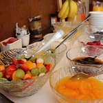 Fresh fruit salad is prepared each morning