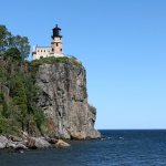 The view of the lighthouse from the shore of Lake Superior