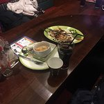 our table with dirty plates and glasses